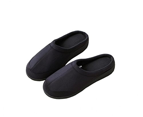 Mens Cotton Indoor House Slippers Memory Foam Warm Winter Slippers Non-slip Outdoor Shoes Christmas Gift Black 4RJp5Af