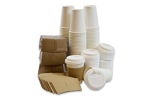 White Paper Hot Coffee Cups (insulated) with Travel Lids and Disposable Sleeves 12oz Office Party Pack To Go (50 count)