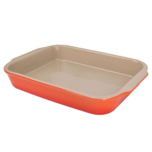 "Sticks Orange Glazed (American Bakeware 13"" x 10"" Rectangular Casserole Baker - Non Stick Ceramic - Heat Resistant to 400 °F - No Metals or other Harmful Materials - Safe for Oven, Microwave, Dishwasher - Made in the USA)"