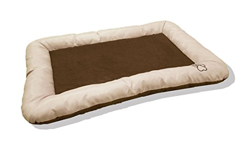 Dog or Cat Pet Bed Rectangle Plush Cuddler, 22″ x 18″ Black and Gray (24-Inch, Tan)