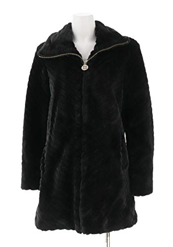 Dennis Basso Chevron Grooved Faux Fur Coat Collar Black XXS New A287493 from Dennis Basso