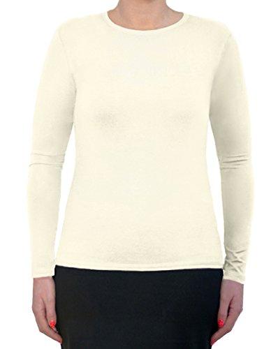 Women's Modest Long Sleeve Crew Neck Layering Top Medium Off White