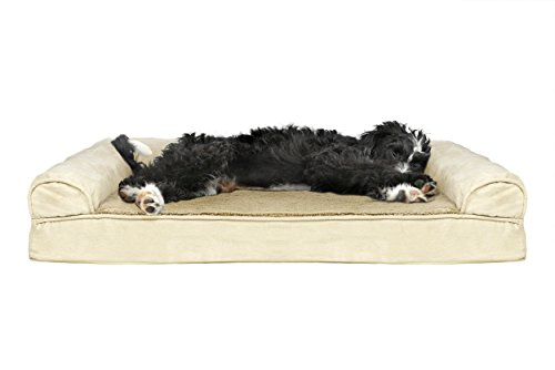 Furhaven Pet Dog Bed | Cooling Gel Memory Foam Orthopedic Ultra-Plush Sofa-Style Couch Pet Bed for Dogs & Cats, Clay, Large For Sale