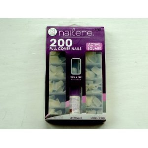 Amazon.com : Nailene Full Cover Nails Active Square, 200-Count (Pack of 2) : False Nails : Beauty