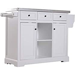 "HOMCOM 51"" L Wood Stainless Steel Portable Rolling Kitchen Island Cart with Wheels - White"
