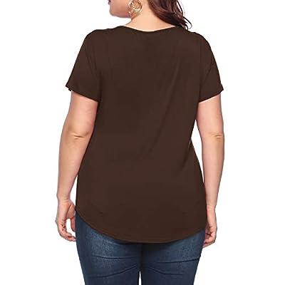 Amoretu Women's Plus Size Tops Short/Long Sleeve Criss Cross V Neck T-Shirt at Women's Clothing store
