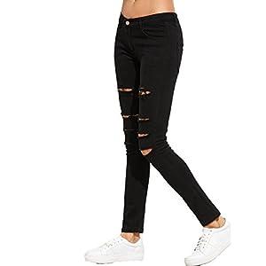 SweatyRocks Women's Casual Cotton Ripped Skinny Jeans Distressed Denim Pants (Medium, #Black)