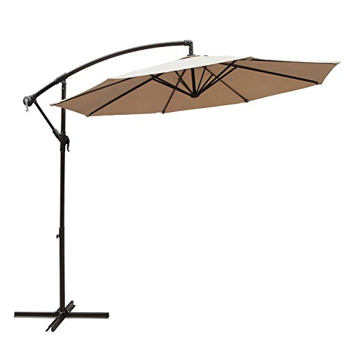 COBANA 10 Ft Patio Umbrella Offset Hanging Umbrella Outdoor Market Umbrella Garden Umbrella, 250g/sqm Polyester, Beige
