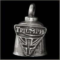 Pewter Motorcycle Gremlin Bell Triumph Triangle Cross Logo Made in the USA