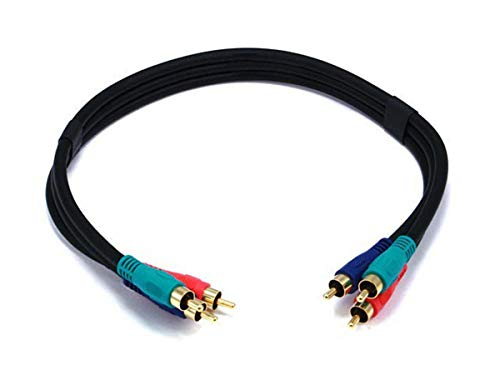 Monoprice 1.5ft 22AWG 3-RCA Component Video Coaxial Cable (RG-59/U) - Black 3 Rca Component Video