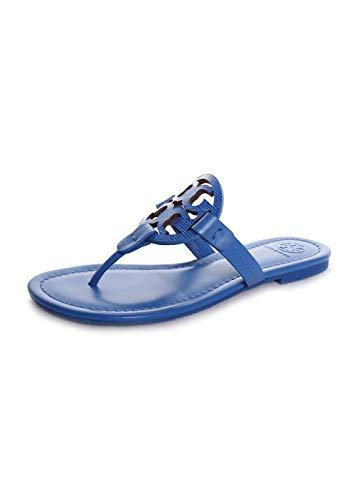 Tory Burch Women's Miller Flat Thong Flip Flops Bright Tropical Blue Leather (9.5 M US) -