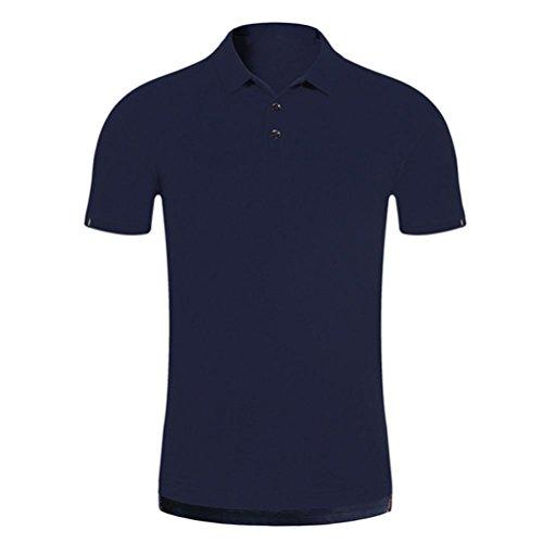 Bluestercool Hommes Polo Shirt Tops Été Casual Manches Courtes Slim Boutons T-Shirt 04