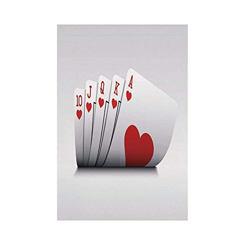 Flush Damask (Polyester Garden Flag Outdoor Flag House Flag Banner,Poker Tournament Decorations,Royal Flush Playing Cards Hearts Betting Bluff Gambling Decorative,Red and White,for Wedding Anniversary Home Outdoor)