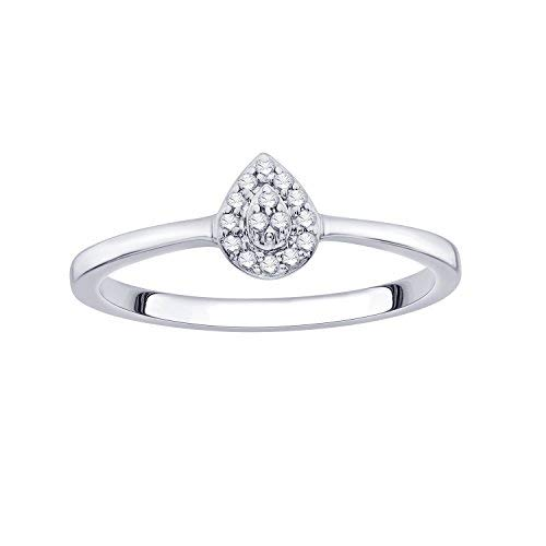 - IGI Certified Diamond Accent Pear Cluster Halo Frame Ring in 10K White Gold (0.07 Cttw)