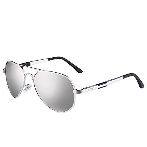 Unisex de Sol FD FEIDU Gafas Plateado Polarizadas Aviador 9001 nATqqX1gx