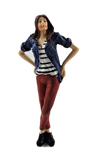 Melody Jane Dollhouse People Modern Woman in Denim Shirt Resin Figure