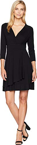 Karen Kane Women's Faux Wrap Drape Dress Black Medium