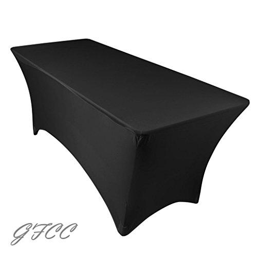 GFCC 10FT Black Rrectangular Stretch Tablecloth for Wedding Party Restaurant Decoration