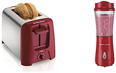 Hamilton Beach 2 Slice Extra Wide Slot Toaster with Shade Selector, Toast Boost, Auto Shutoff, Red (22623) & Beach Personal Blender for Shakes and Smoothies with 14oz Travel Cup and Lid, Red (51101RV)