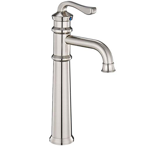 Homevacious Tall Brushed Nickel Bathroom Vessel Sink Faucet Waterfall Long Goose-neck Spout Bath Lavatory Basin Faucets Satin Contemporary One Hole Mixer Tap Deck Mount Waterline Commercial Lead-Free (Gooseneck Lavatory Faucet)