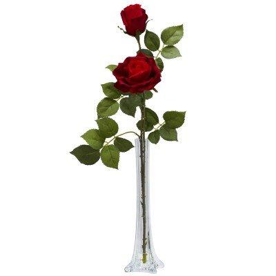 Nearly Natural Home Garden Décor Roses w/Tall Bud Vase Silk Flower Arrangement Red