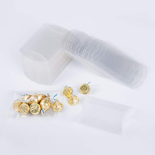 MOWO Clear Plastic Pillow Box 4x0.9x2.8 inch Gift Candy Treat Transparent Packing Box Party Favors 50pc ()