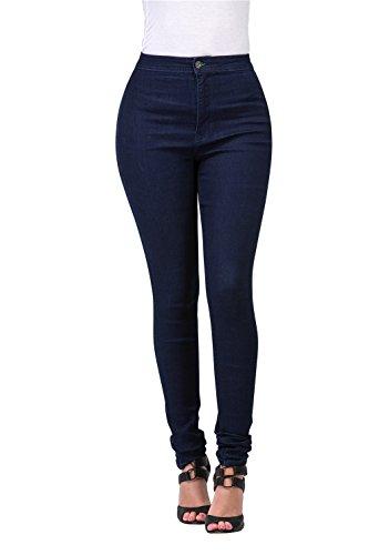 FASHION-LAND High Waisted-Rise Ladies Women Denim Stretch Skinny Jeans Pants (Dark, S)