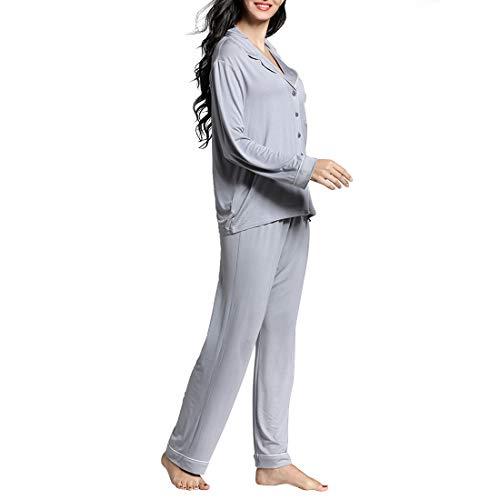 lunghe donna V Pigiama S per mod a set maniche maglia pantaloni Plus Color scollo a da pigiami Size Wine lavorato pigiama Gray con Size Amabubblezing a di vxqY4U4