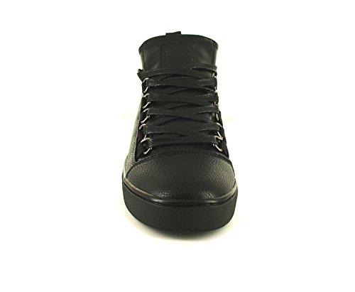NUEVO Hombre / Negro Hombre Crosshatch Erde hola-tops Con Cordones Zapatillas- Negro/Negro - GB Tallas 7-12