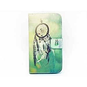 QJM Campanula Feather PU Full Body Case Card Slot and Stand for iPhone 4/4S