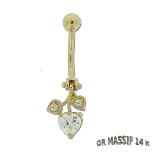 Piercing Nombril Or Massif 14 Carats Or Jaune Coeur Cristal Blanc