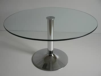 Table Ronde En Verre Pied Central.Table Basse Ronde En Verre Transparent Et Pied Central