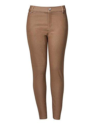 Yelete Womens Basic Five Pocket Stretch Jegging Tights Pants 2XL Khaki