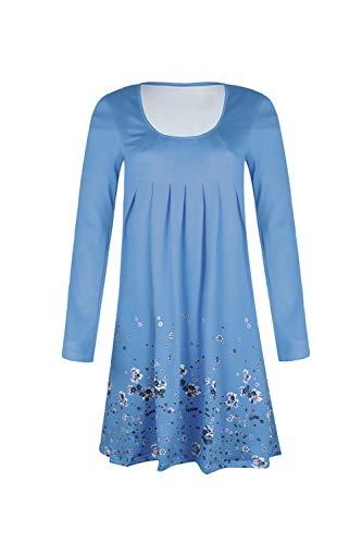Azul con Mangas Summer Tunic Print 's Pliegues De Vestido Floral Sin Women Bohemia H8WUT7FnBq