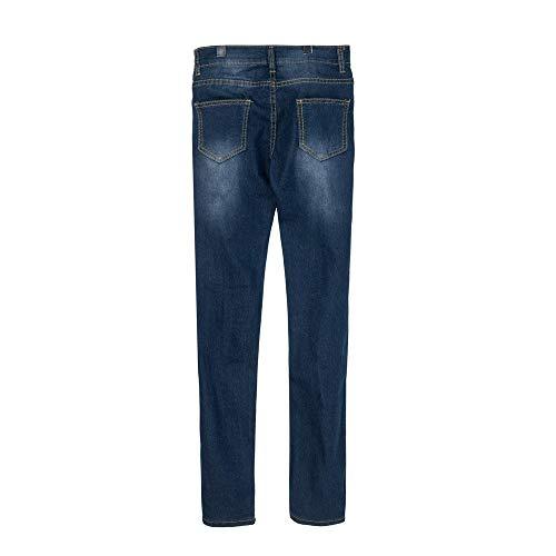 Donna Stretch Lqqstore Di Buco Dimensioni A Più Vita donne jeans Magro Pantaloni Denim Metà Jeans Blu Scuro Slim Vitello Strappato qqr1x57w
