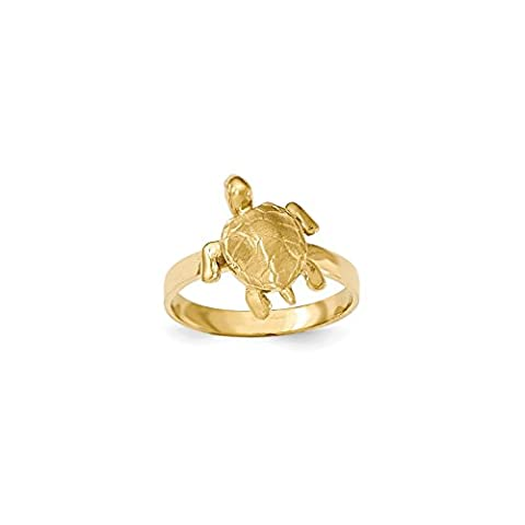 Roy Rose Jewelry 14K Yellow Gold Polished & Textured Sea Turtle Ring ~ Size 7 - Gold Polished Turtle