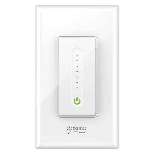 Gosund Smart Dimmer Switch, Smart Light Switch Dimmer Compatible with Alexa & Google Home, with Remote Control & Timer, Single-Pole, Neutral Wire Required, ETL & FCC Listed, No Hub Required (1 Pack)