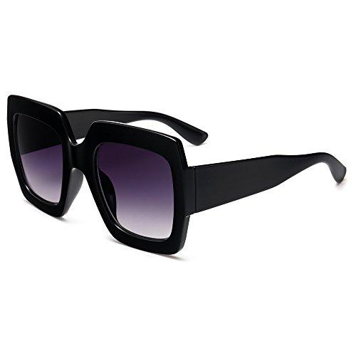 Gafas Sunglasses negro oversize de gafas sol sol cuadrado square de mujeres UV400 TL d5EqYxwId