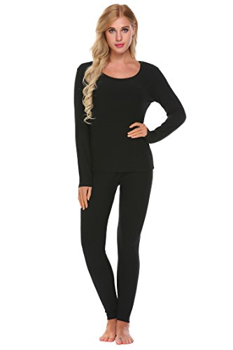 Goldenfox Base Layer Sets Women Pajamas Set Long John Underwear Thermal Shirt and Bottoms (Black, Medium) (Womens Lightweight Long Underwear)