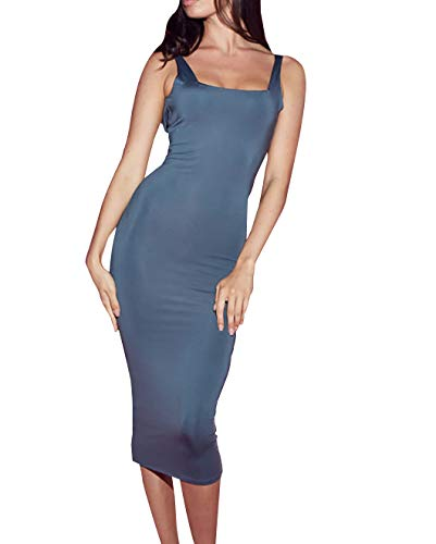Ladies Fashionable Slinky Midaxi Length Dress in Grey Color (Slinky Long Tube Dress)
