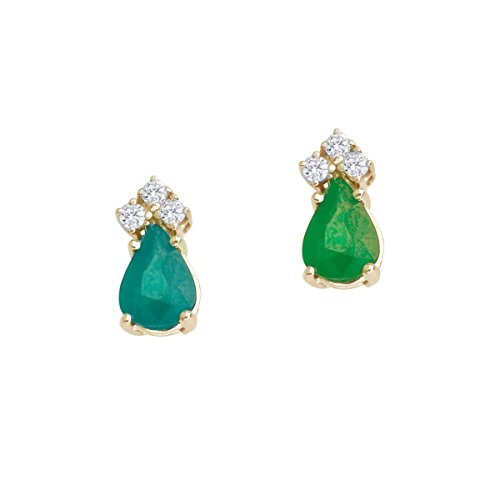 14k Yellow Gold Studs Genuine Green Birthstone Emerald And Diamond Pear Shaped Earrings (0.7 - Yellow Gold Earings Emerald