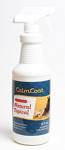 Calm Coat Natural Topical for Horses Dogs & Cats - Natural Oils to Promote Healing & Skin Relief for Irritations - for Cuts, Itchy Hot Spots, Bug Bites - Herbal Scent 32 oz