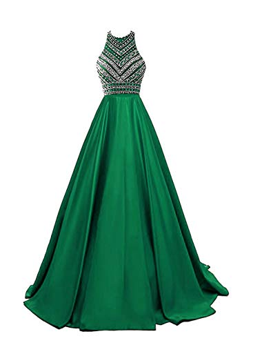 (HEIMO Women's Sequins Evening Party Gowns Beading Formal Prom Dresses Long H187 4 Green)
