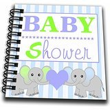 3dRose db_57086_2 Baby Shower Cute Twin Elephants Memory Book, 12 by 12-Inch, Green/Blue
