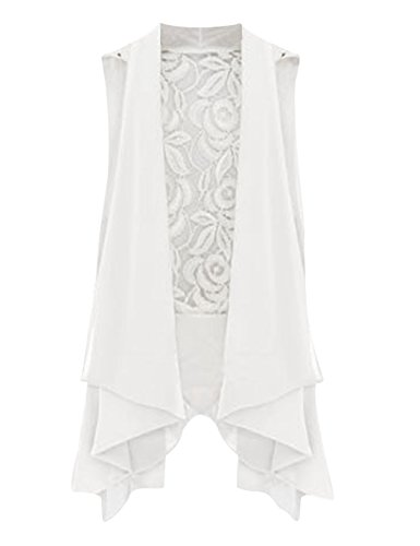 Tanming Women's Open Front Sleeveless Splicing Chiffon Vest Cardigan (Large, White)