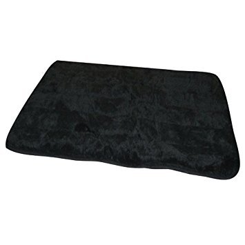 (FurHaven Pet Rug | Quilted Fur Rug Pet Bed, Black, Large)