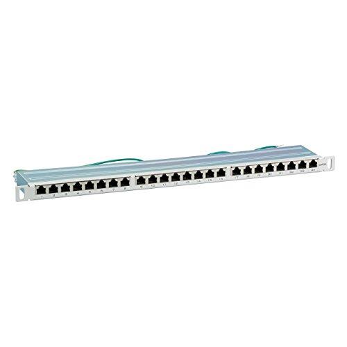 BIGtec 24 Port CAT6a Patchpanel Verteilerfeld Verteiler Patchfeld 500Mhz 10 Gigabit LSA Technik RJ45 8P8C RAL7035 grau 19 Zoll 19' 0, 5HE - halbe Hö he - platzsparend