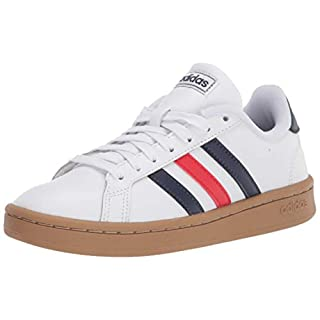 adidas mens Grand Court Tennis Shoe, White/Trace Blue/Red, 3.5 US
