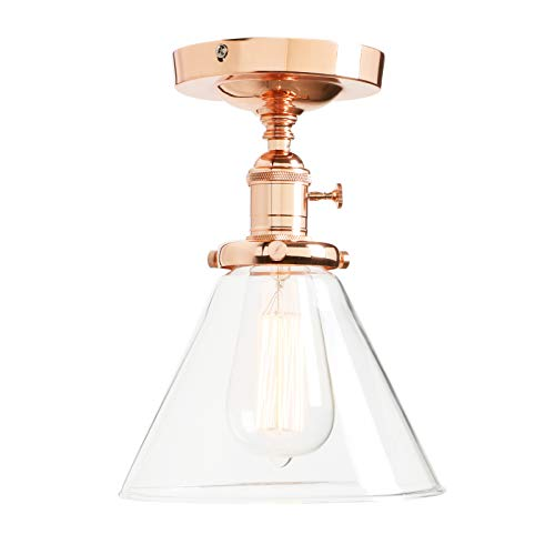 Permo Vintage Industrial Semi Flush Mount Ceiling Light Fixture Pendant Lighting with Funnel Flared Clear Glass Shade (Copper)