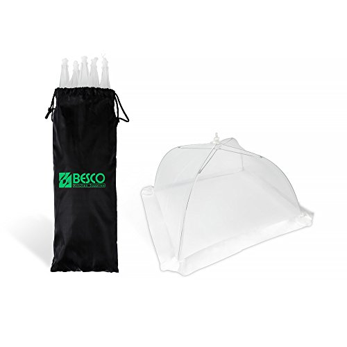 Besco Kitchen Supplies Set Of 6 Food Cover Tents: 17x17 Inches Pop Up Foldable Umbrella Covers, Protect Plates and Bowls From Bugs, Flies and Dirt, Mesh Net and Strong Frame, With Reusable Carry Bag
